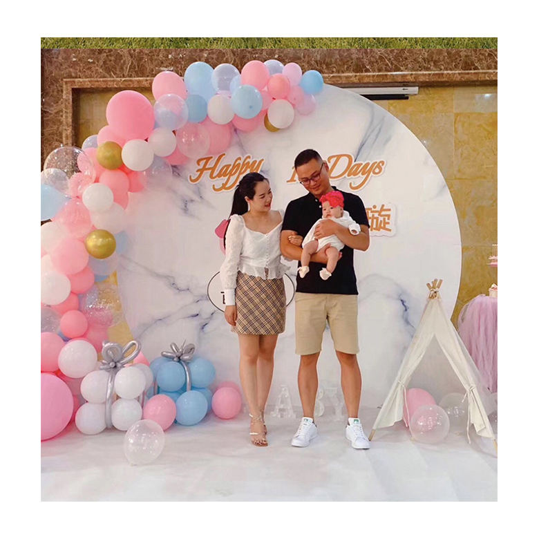 round shape wedding stage event aluminum party decoration stand/ portable detachable backdrop for babies' new-born ceremony