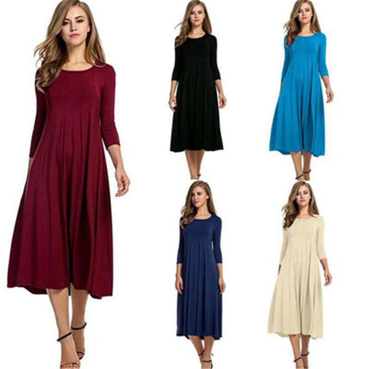 Women's Long Sleeve Casual plus size T-Shirt Dresses round neck maxi swing Dress ZJ096