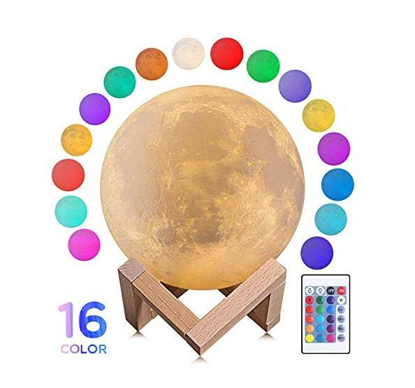 Amazon hot selling 3D print moon light led moon lamp table lamp 15cm 16 colors dimmable remote control touch switch