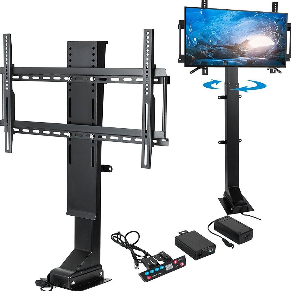 Z650 telescoping motorized height adjustable TV Stands diy tv mount with remote on floor or wall or in wooden cabinet