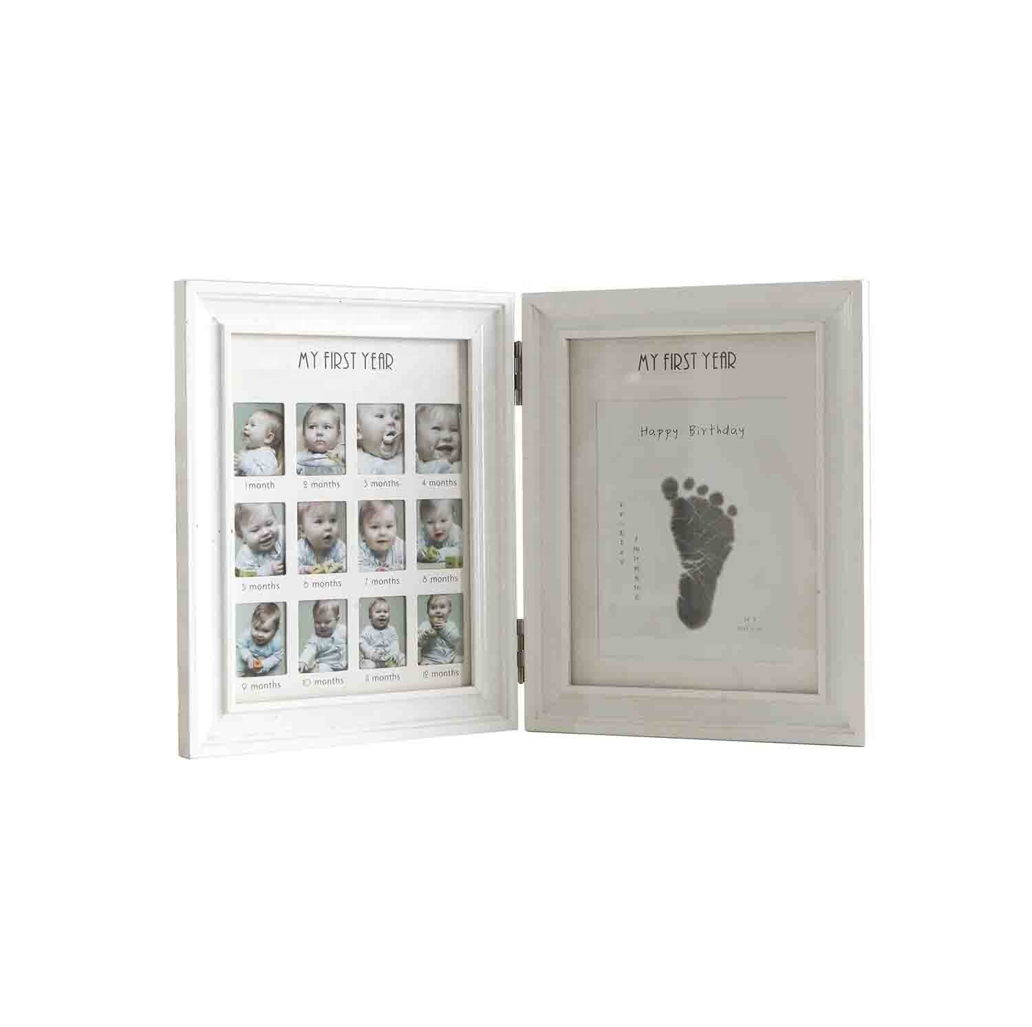 Wholesale white newborn baby gifts wooden baby photo frame folding 12 Months baby handprint & footprint mud photo frame kit
