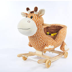 Plush Animal Deer Rocking Horse Kids Wood Material Rocking Chair Horse Toy