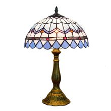 30CM Modern Mediterranean style Dining room bar hotel bedroom bedside table lamp Tiffany stained glass blue lighting