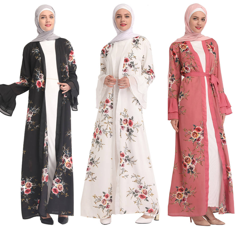 2020 Hot Sale Women's Fashion Printed Muslim Dress Long Sleeve Islamic Clothing