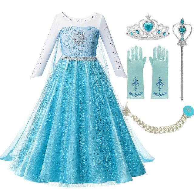 Girls Beadings Princess Dress Fancy Elsa Costume Girl Snow Queen Halloween Birthday Party Clothes with Long Cloak Train