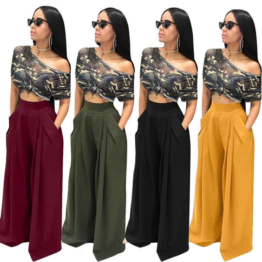 Pocket Trouser For Women High Waist Causal Loose Wide Leg Pants Female Autumn Fashion Elegant Y12510