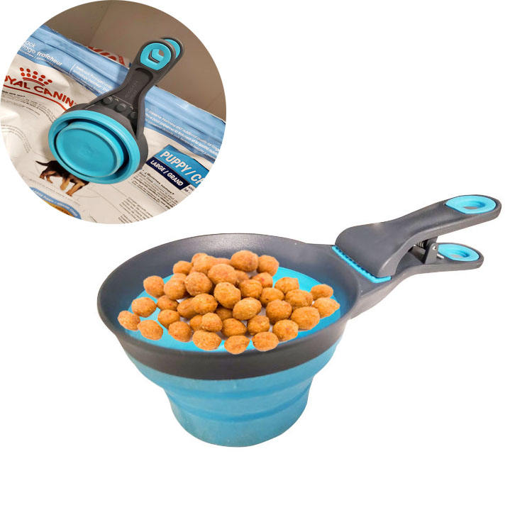 237 ML Pet Dog Cat Folded Collapsible Measure Food Scoop Spoon Measuring Cup with Sealing Clip
