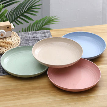 Eco-friendly Biodegradable Straw Household Dish Plate Dinner Plate Dinner Bowl Set Tableware Set Dinnerware Range