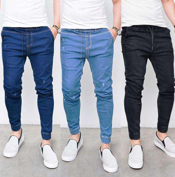 OEM China Factory Low Price Casual Mens Drawstring Blue Stretch Skinny Ripped Jeans Men