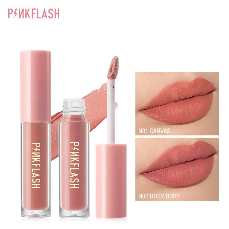 PINKFLASH Tahan Lama Lipstik Make Up Matte Liquid Lip Stick Non Pengeringan Makeup Nude Merah Pigmen Tahan Air 14 Warna Kosmetik
