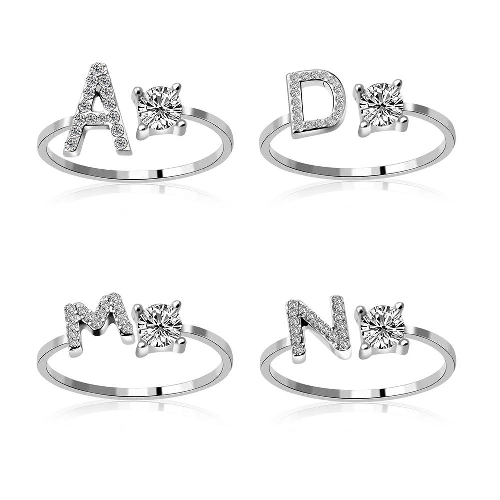 CZ Zirconia Zircon Diamond S Letters Ring Adjustable Personalized Alphabet 26 Letter Initial Letter Ring