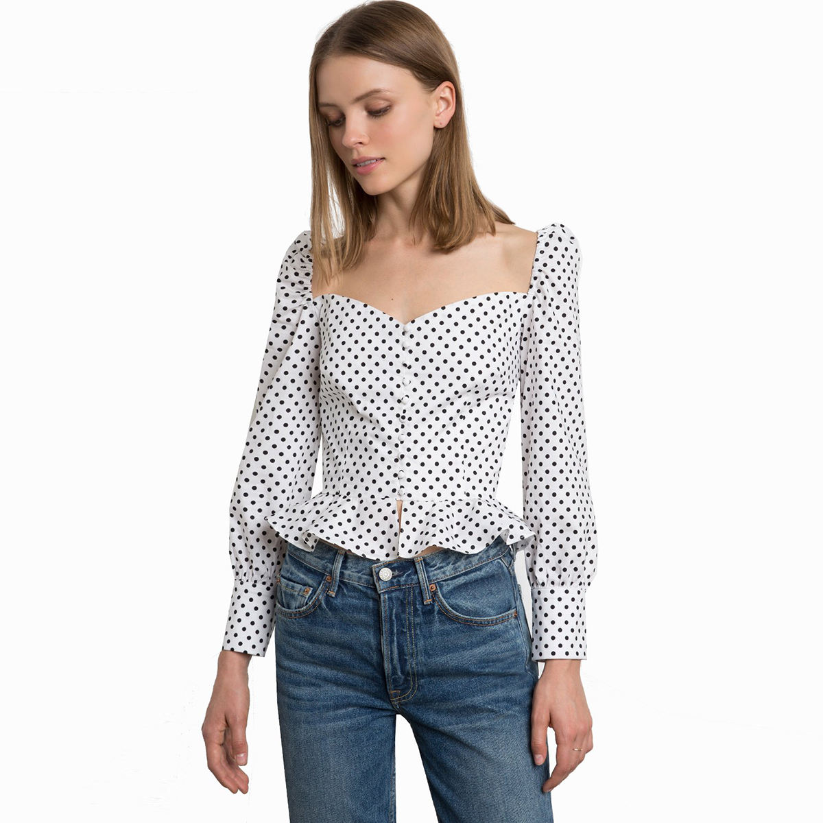 Top quality ladies beautiful design simple women dot blouses