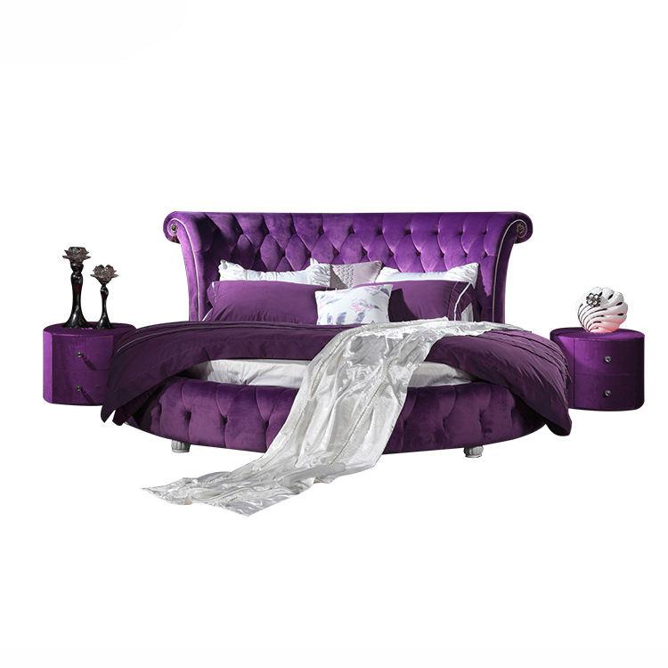 ビッグ大人アンティークダブル紫ラウンドベッド上の販売セット生地デザイン寝室金属強いベッドフレームキングサイズラウンドベッド