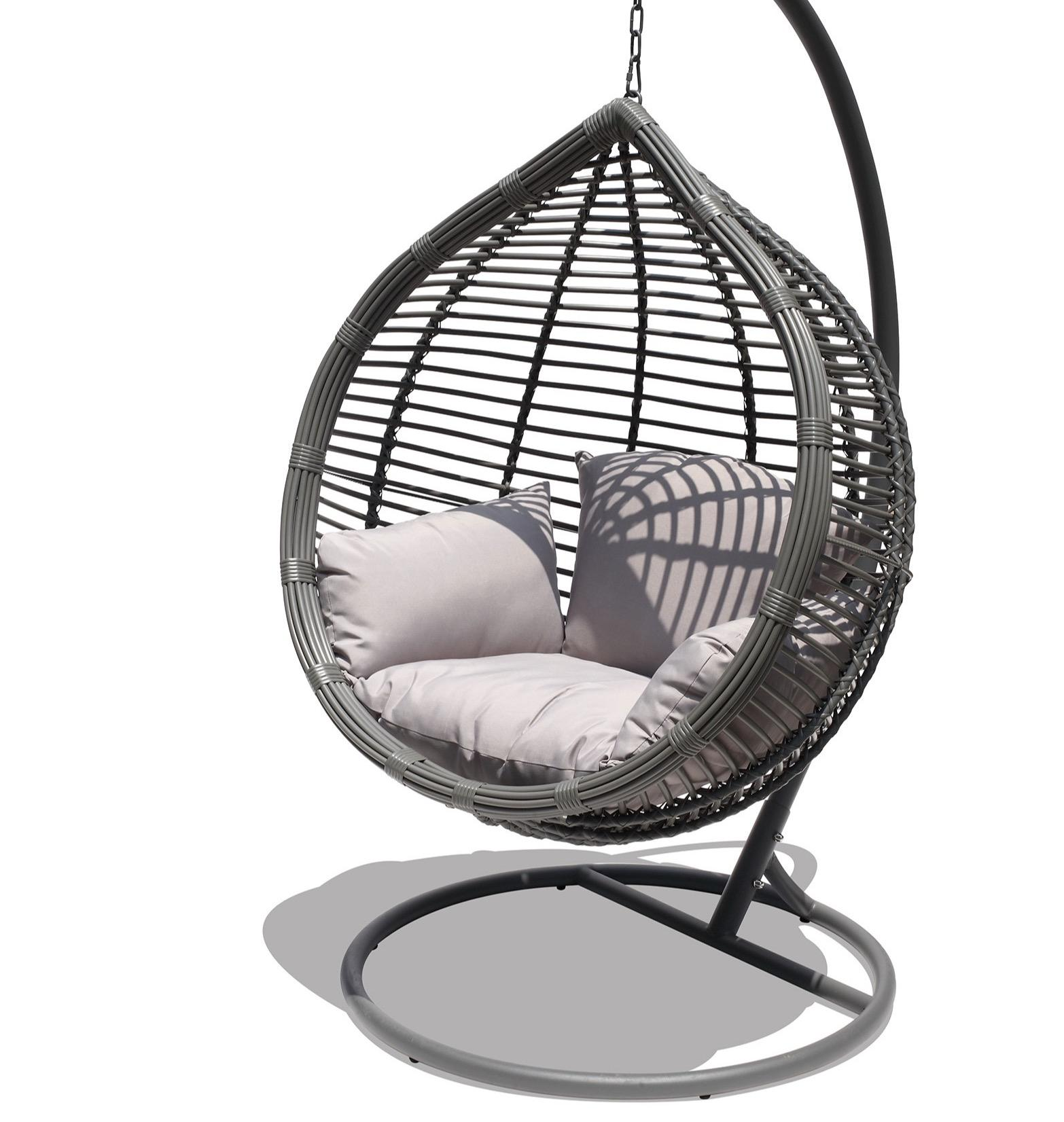 Outdoor high-quality waterproof thick cushion single seat garden furniture rattan patio swings hanging egg chair with stand
