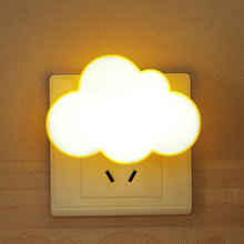 Creative Cloud Light Sensor Control LED Night Light Socket NightLamp Children Bedroom EU/US Plug LED Light