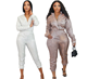 New style zipper suit jacket pants sequin sexy two piece fashion women suit