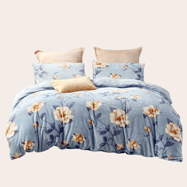 Super soft floral vintage retro bedding set plant flower plush flannel duvet set fluffy bed in a bag with shaggy bed sheet