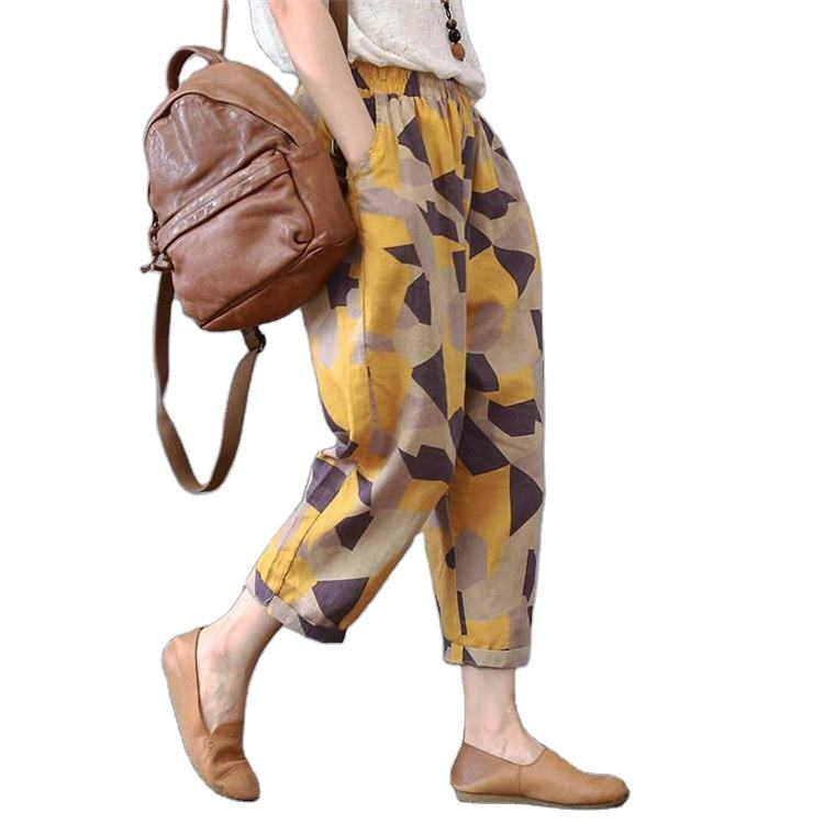 Cotton printed trousers for women thin slacks large size cotton and linen trousers