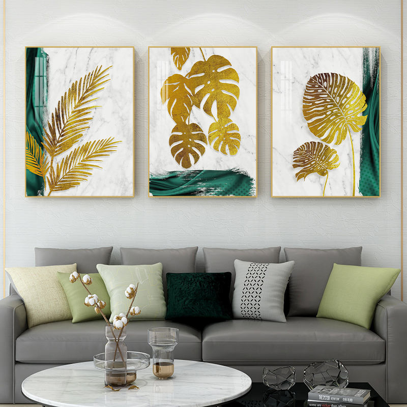 custom high quality waterproof crystal porcelain Paintings large modern gold leaf plant wall art for living room