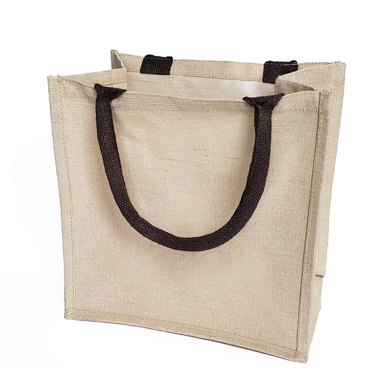 Jute Burlap Tote Bags manufacturers Soft Cotton Handles Laminated Interior Reusable Grocery Shopping Bags