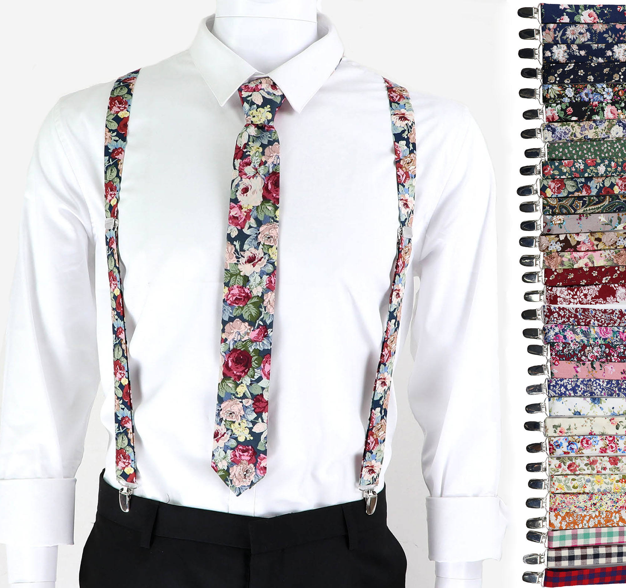 2.5cm Floral Cotton Suspenders Tie Sets Men Women Braces Adjustable Straps Male Pants Jeans Female Skirt Shirt Accessories Gift