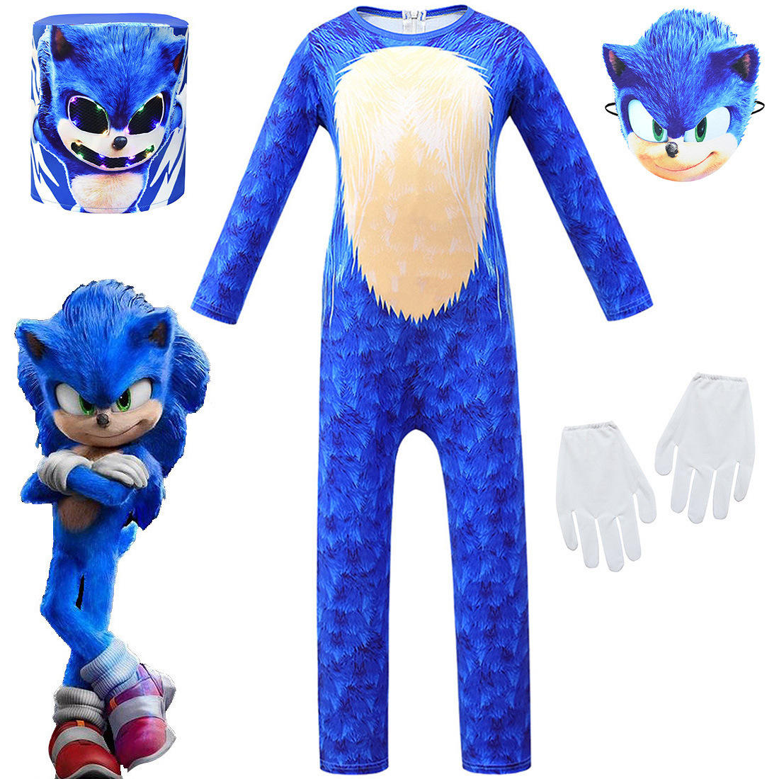Aier Halloween Party Boys Game Sonic the Hedgehog Cosplay Costume with Mask