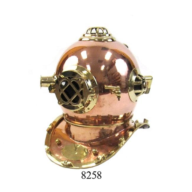 Antique Nautical Decorative U S Navy Mark V Copper and Brass Diving Helmet Nautical Collection Divers Helmet with Stand