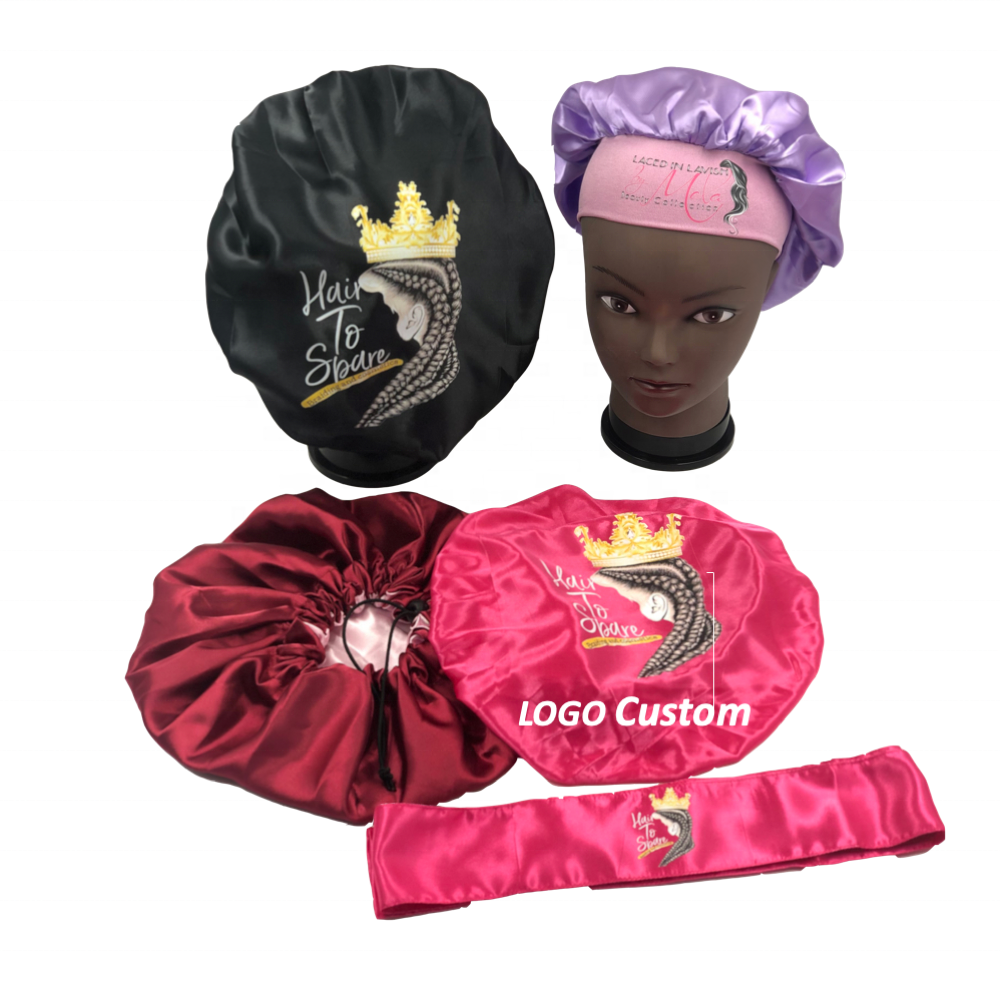 Factory supply wholesale Low MOQ LOGO custom hair bonnets silk for women