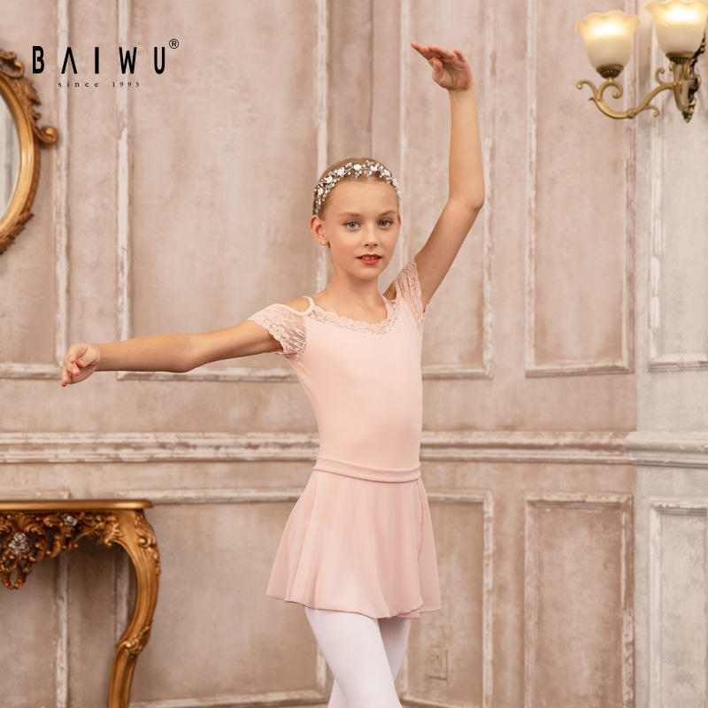 119241061 Wholesale Short Sleeve Lace Material Leotards Ballet Girls