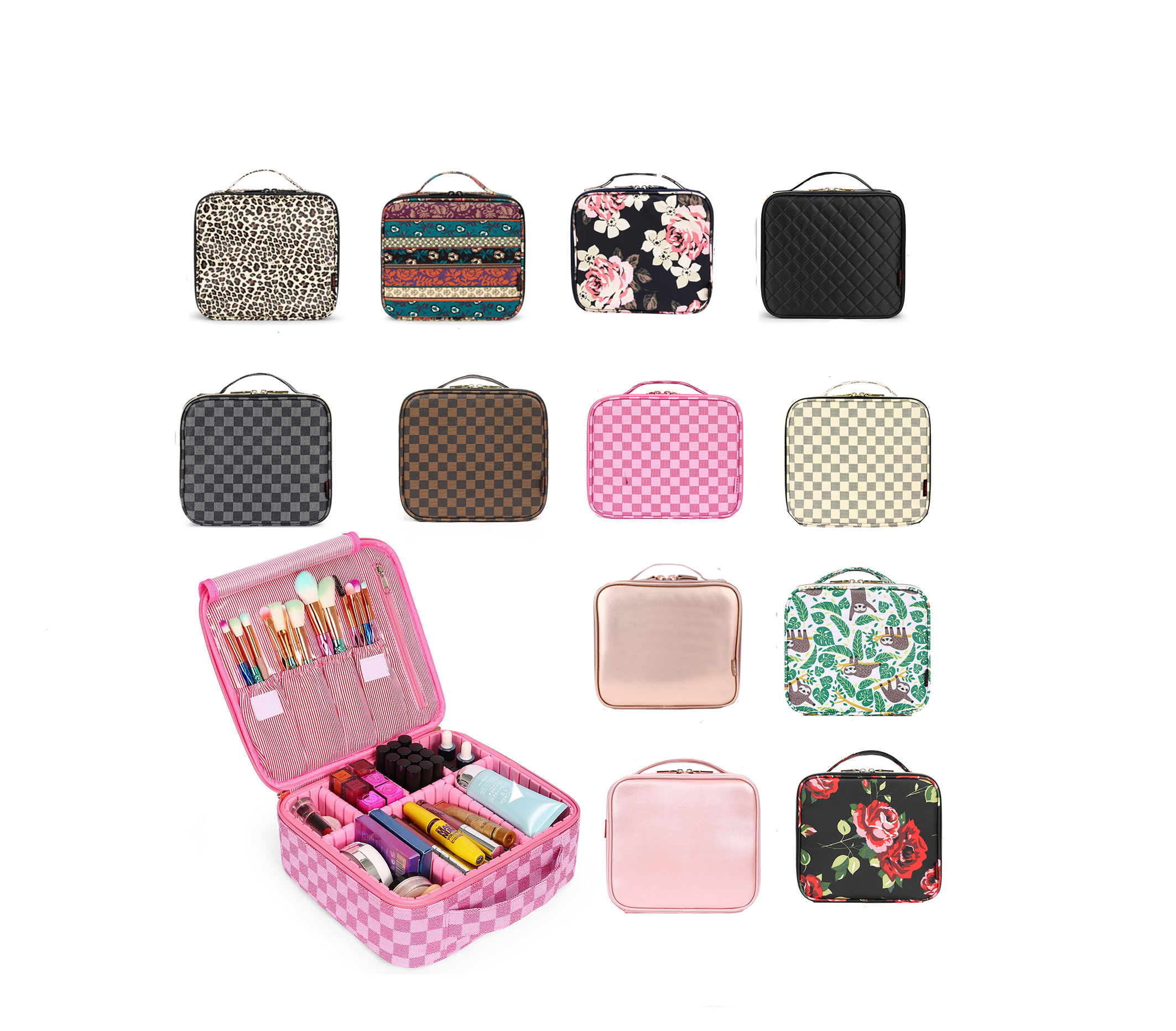 IN STOCK FREE SAMPLE Accept Custom LOGO Large Capacity Beauty Makeup Bag Travel Cosmetic Bag Case for Women PU Cute Makeup Case
