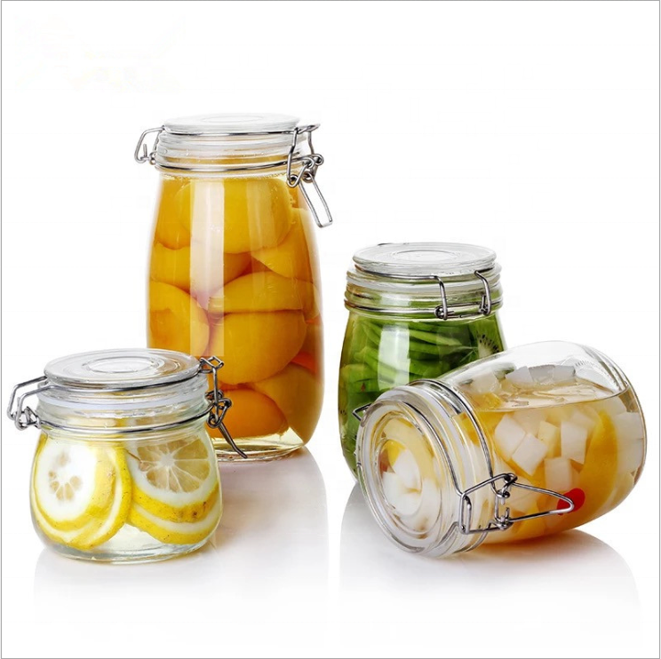 Clip Top Jar Durable Glass Container with Airtight Seal for Home-canning Preserving and Storing