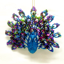 Wholesale Plastic Custom Shape Glitter Peacock Christmas Ornaments For Home Decoration