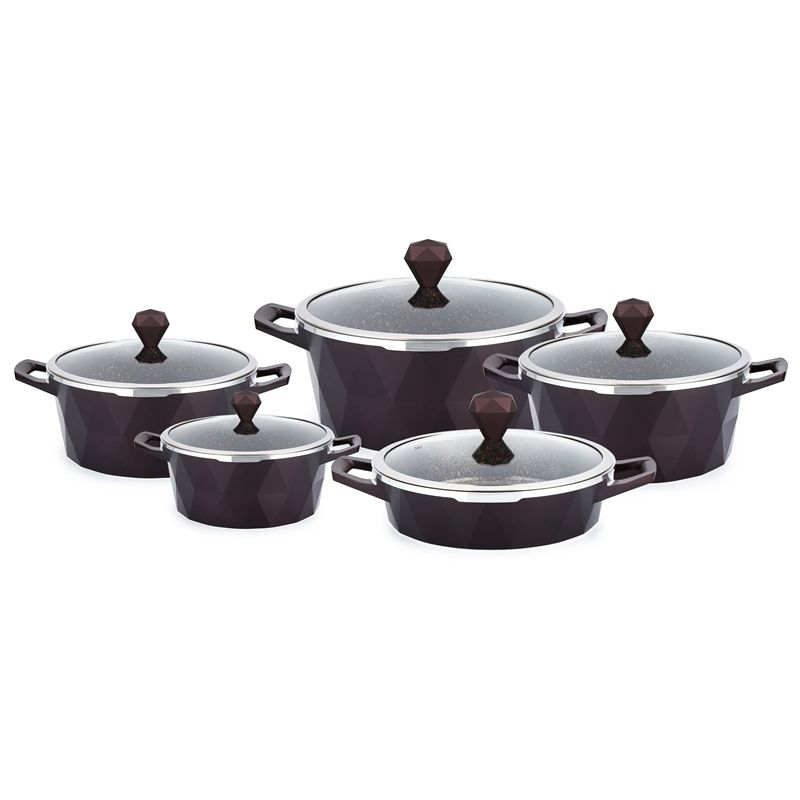 Classic Diamond shape die cast aluminum non stick cookware sets cooking pot used for cuisine