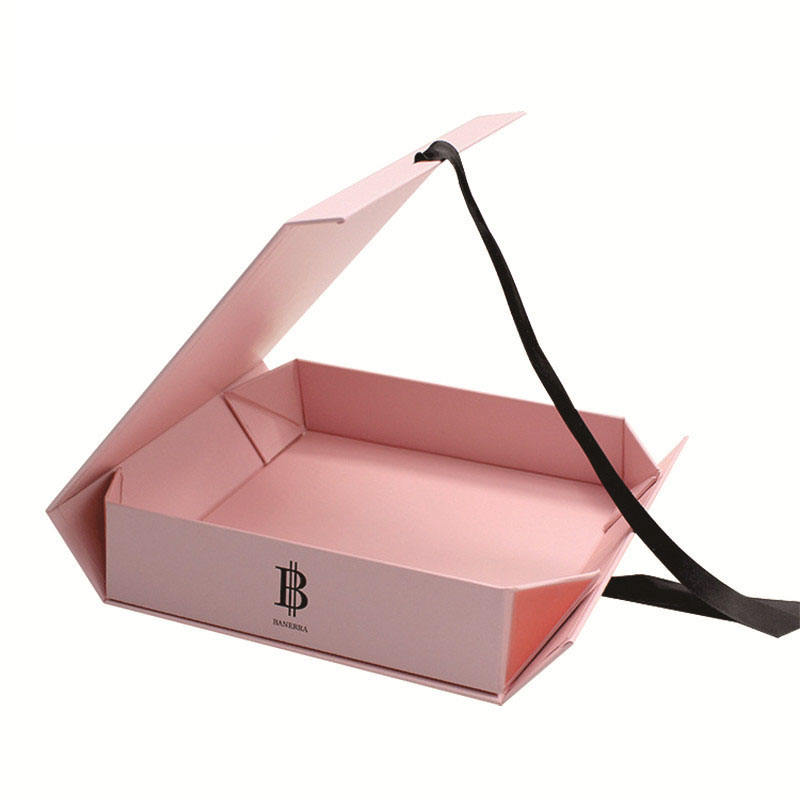 Magnetic Closure Hard Luxury Cardboard Clothing Gift Box With Ribbon Folding Packaging Foldable Flat Gift Boxes For Shoes