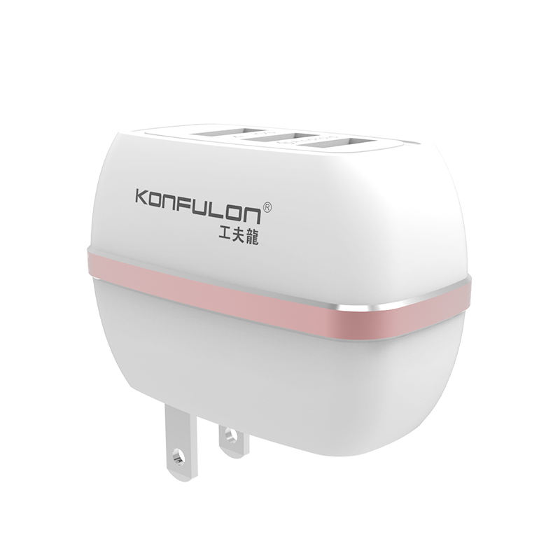 Konfulon 3 Poorten Fast Charger 5V 3.1A Wall Charger Power Adapter US EU UK Plug voor iPhone iPad Huawei samsung