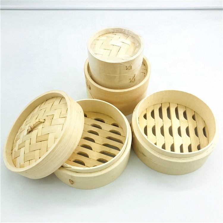 Bambú hecha a mano Chino Olla Tapa 2 capa nivel 10 pulgadas 25cm
