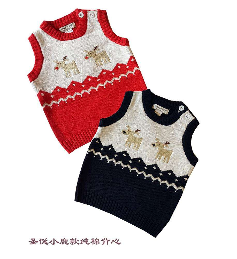 Christmas baby knit cotton vest New Year Santa Claus Toddler Kids Girl Boy Winter Deer Sweater Knitted Warm Vest