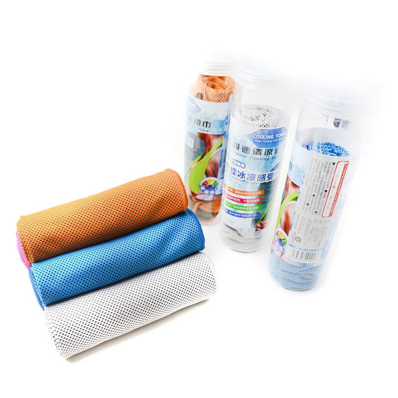 Cooling towel for gym microfiber cloth with portable container