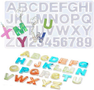Amazon Hot Reversed Letter and Alphabet Number Resin Mold,Jewelry Keychain Making Epoxy Molds,Craft Casting Molds Set Kit