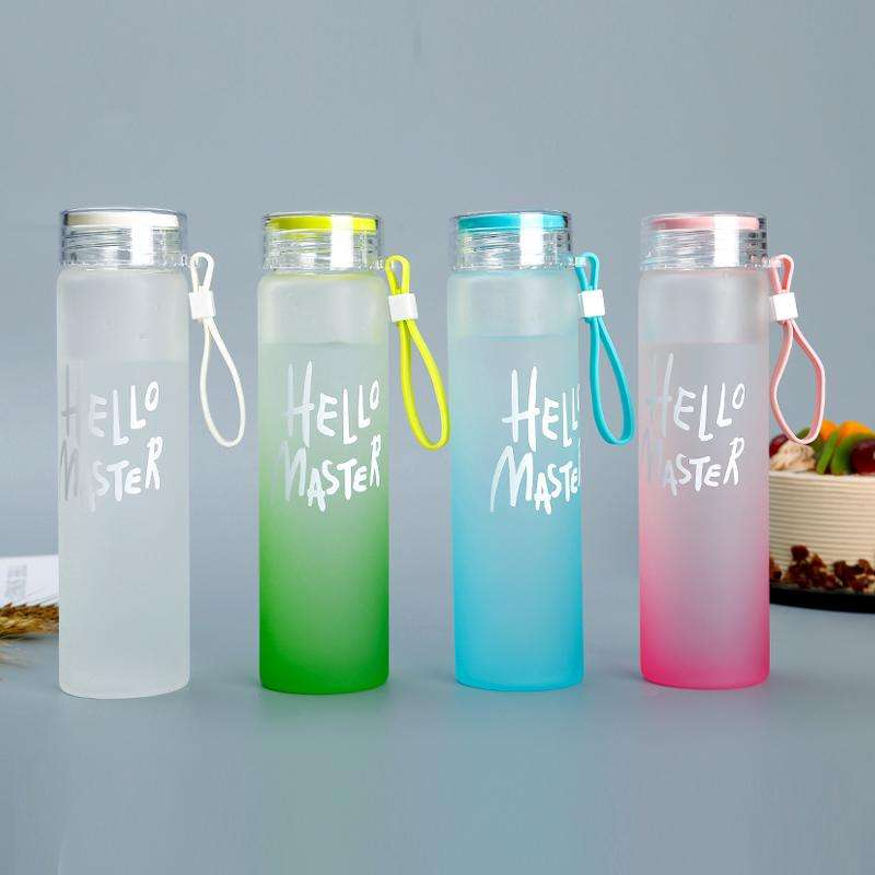 Amazon Top Seller 2019 Hello Tuan Kreatif Warna Portabel Frosted Air Botol dengan Tali Private Label Bpa Gratis