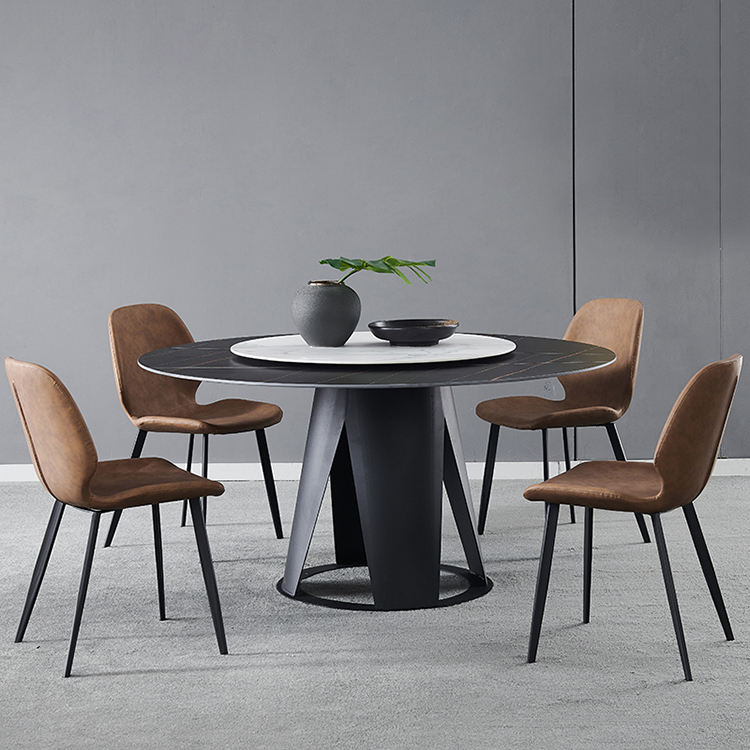 Italian white marble rock plate round dining table and 6 chairs with stainless steel legs dining room set