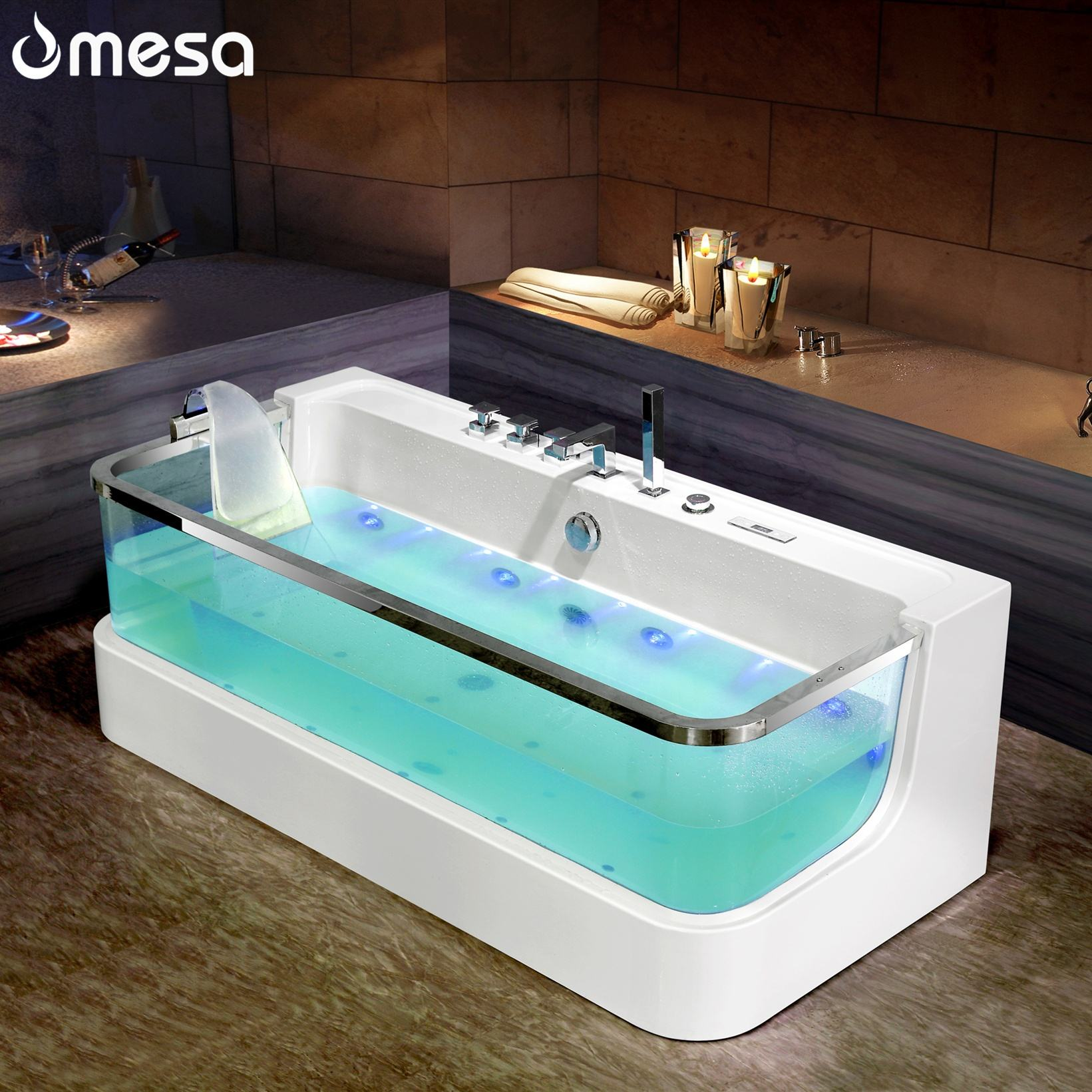 Corner simple design acrylic custom transparent hydromassage massage bathtubs sizes with tempered glass for small spaces