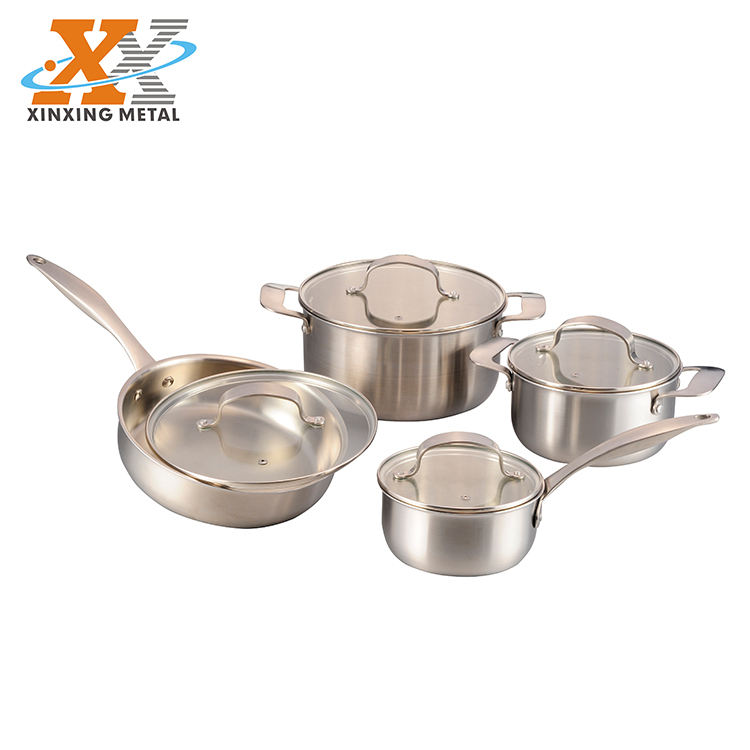 Hot Sale 8Pcs Tri Ply Straight Shape Cookware Set Die Casting Handle Flat Glass Lid Cookware