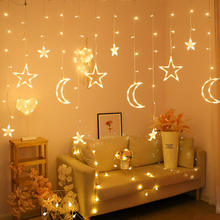 2020 New Arrivals Christmas Led Moon Star Curtain Lights Indoor Decoration