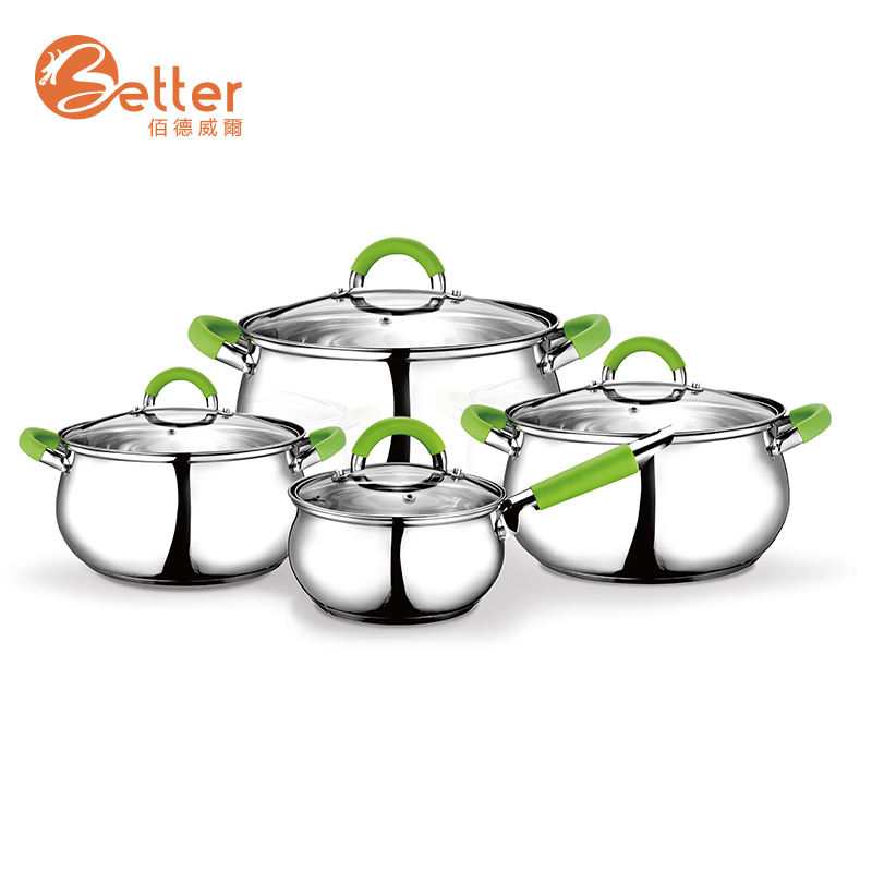 Wholesale 8Pcs Stainless Steel Apple Shape Cookware Sets Silicone Handle