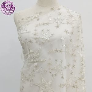 2020 Latest design machine beaded net embroidery fabric for wedding dress