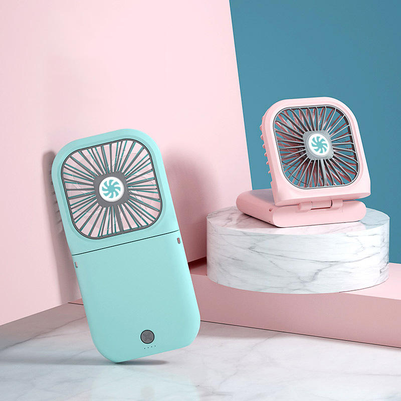 Portable Folding Handy Small Mini Electric Fan Pocket Stand Charging Cooler Rechargeable Battery Fan with Power Bank 3000mah