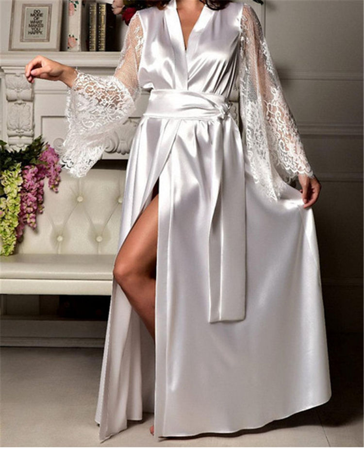 New Women Breathable Casual V-Neck Silk Dress Night Dress Sexy Lace Belted Gown Nightgown Sleepwear