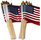 4X6inch 12x18inch Handheld American Flag with Kid Safe Golden Spear Top Wooden Stick Flag