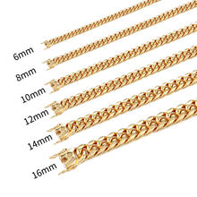 Beiyan jewelry best selling high quality hip hop 18K gold plated stainless steel cuban link chain necklace